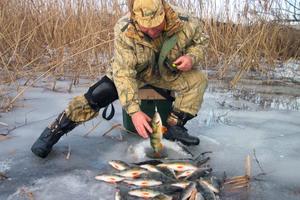 Зимняя рыбалка на пруду!
